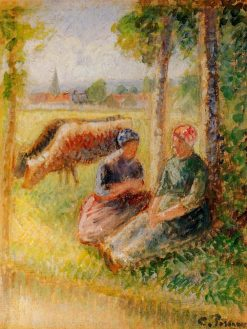 Two Cowherds by the River 1888 - 1895 | Camille Pissarro | oil painting
