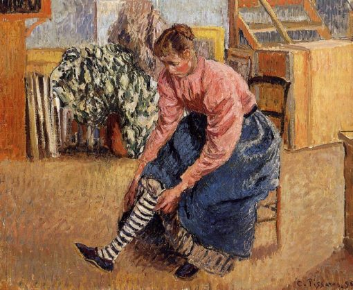 Woman Putting on Her Stockings 1895 | Camille Pissarro | oil painting
