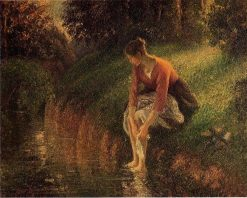 Young Woman Bathing Her Feet (also known as The Foot Bath) 1895 | Camille Pissarro | oil painting