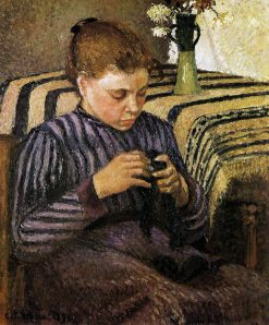 Young woman mending her stockings 1895 | Camille Pissarro | oil painting