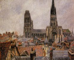 The Roofs of Old Rouen Grey Weather 1896 | Camille Pissarro | oil painting