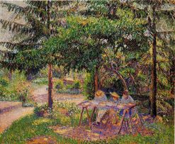 Children in a Garden at Eragny 1897 | Camille Pissarro | oil painting