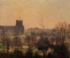 Garden of the Louvre Fog Effect 1899   Camille Pissarro   oil painting