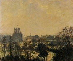 Garden of the Louvre Snow Effect 1899   Camille Pissarro   oil painting