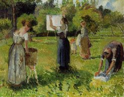 Laundresses at Eragny 1901 | Camille Pissarro | oil painting