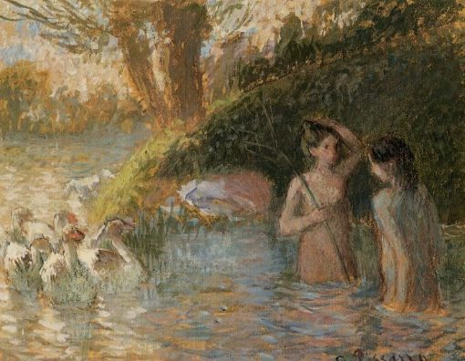 Bathing Goose Maidens | Camille Pissarro | oil painting