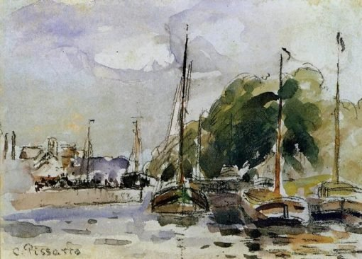 Boats at Dock | Camille Pissarro | oil painting