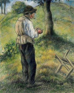 Father Melon Lighting his Pipe | Camille Pissarro | oil painting