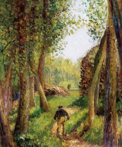 Forest scene with two figures | Camille Pissarro | oil painting