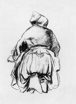 Kneeling woman | Camille Pissarro | oil painting