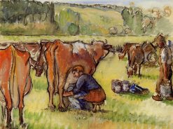 Milking Cows | Camille Pissarro | oil painting