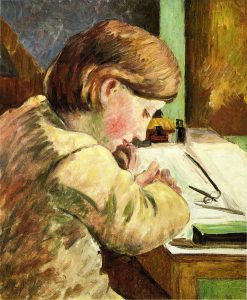 Paul Writing | Camille Pissarro | oil painting