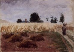 Peasant Woman on a Country Road | Camille Pissarro | oil painting