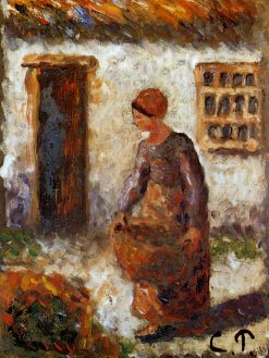 Peasant woman with basket | Camille Pissarro | oil painting