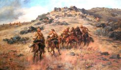 The Race for the Kopje | Godfrey Douglas Giles | oil painting