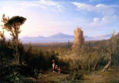 Ciceros Tomb at the Bay of Gaeta | James Giles | oil painting