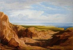 Quarrying -  Peterhead Quarry with a Lighthouse in the Background | James Giles | oil painting