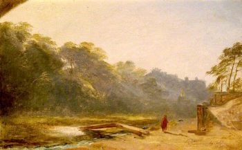Sketch of a Figure Walking by a Stream | James Giles | oil painting
