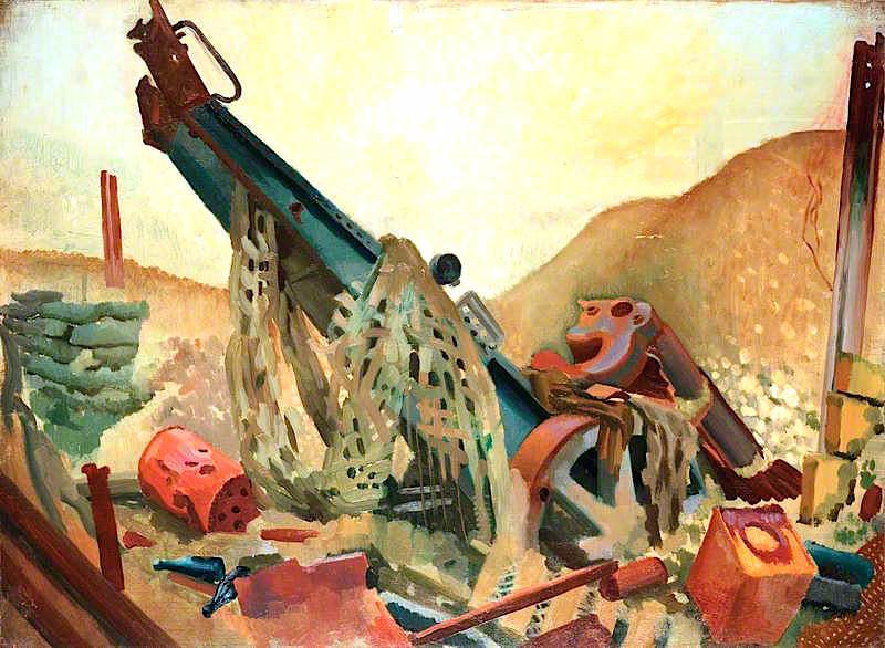 A Captured Howitzer at Fampoux | Colin Unwin Gill | oil painting