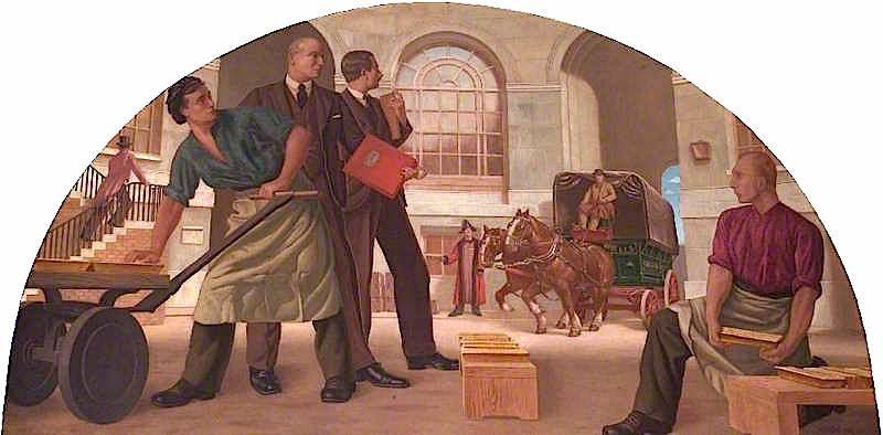 Receiving Bullion in the Old Bullion Yard | Colin Unwin Gill | oil painting