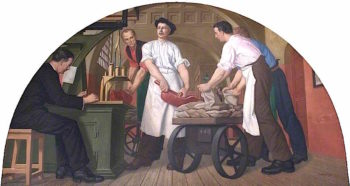 Weighing Gold in the Old Weighing Room | Colin Unwin Gill | oil painting