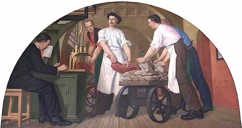 Weighing Gold in the Old Weighing Room   Colin Unwin Gill   oil painting