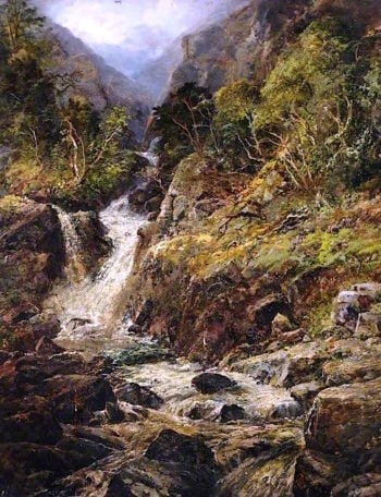 A Welsh Mountain Torrent | Edmund Marriner Gill | oil painting
