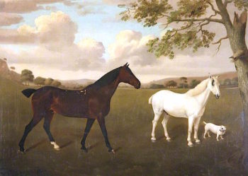 Two Hunters and a Terrier | Edmund Ward Gill | oil painting