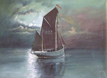 A Manx Fishing Boat   Frederick Gill   oil painting