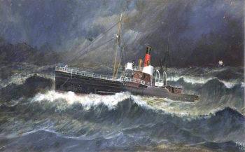 SS Ellan Vannin at the Bar   Frederick Gill   oil painting