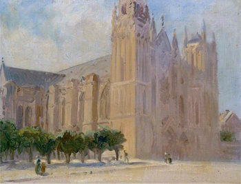 Cathedral Facade | Louis Ginett | oil painting