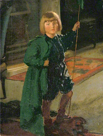 Child in a Green Cape | Louis Ginett | oil painting