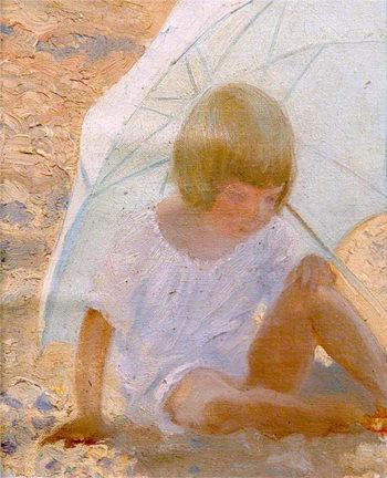 Mary under Sunshade | Louis Ginett | oil painting