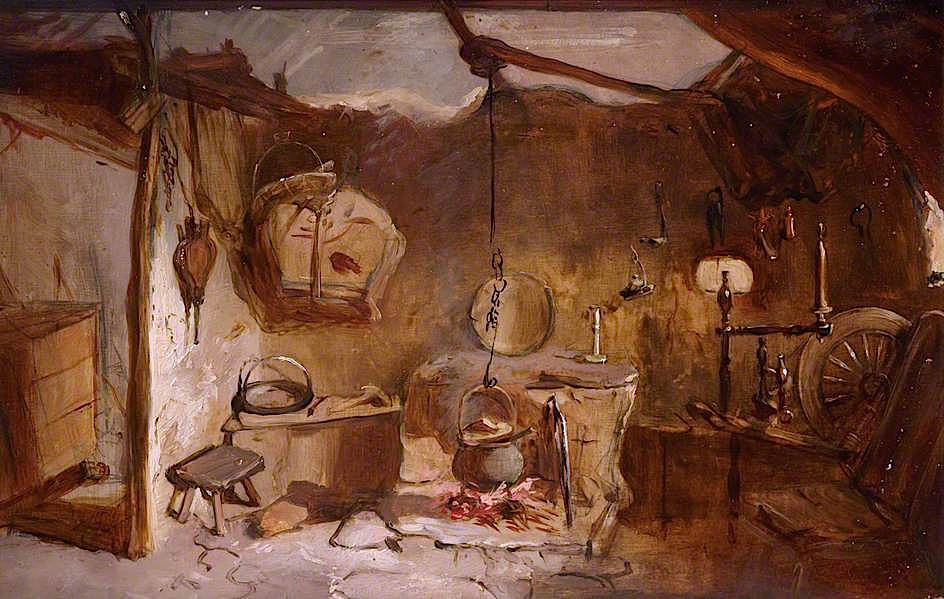 Interior Of A Highland Cottage John Gl Oil Painting