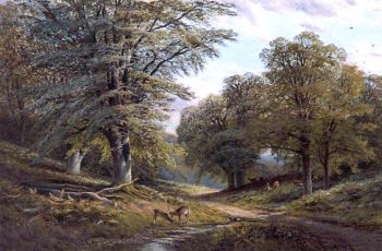Forest Scene with Deer | Alfred Augustus Glendening | oil painting