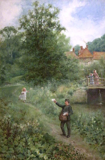 The Village Postman | Alfred Augustus Glendening | oil painting