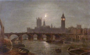 Westminster by Moonlight | Alfred Augustus Glendening | oil painting