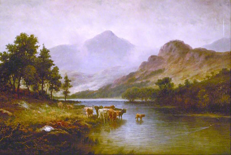 Highland Cattle in a River Landscape | William Glover | oil painting