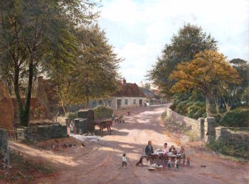 Meikle Earnock Village | William Glover | oil painting