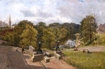 The River Kelvin from the North at the Botanic Gardens | William Glover | oil painting