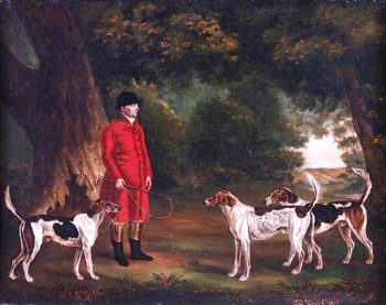 Thomas Sebright with Three Favourite Hounds Belonging to the New Forest Hunt in a Wooded Landscape | Thomas Gooch | oil painting