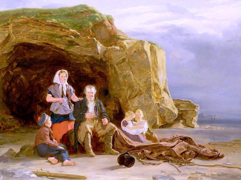 Coastal Scene with Figures Mending Nets | Thomas Sword Good | oil painting