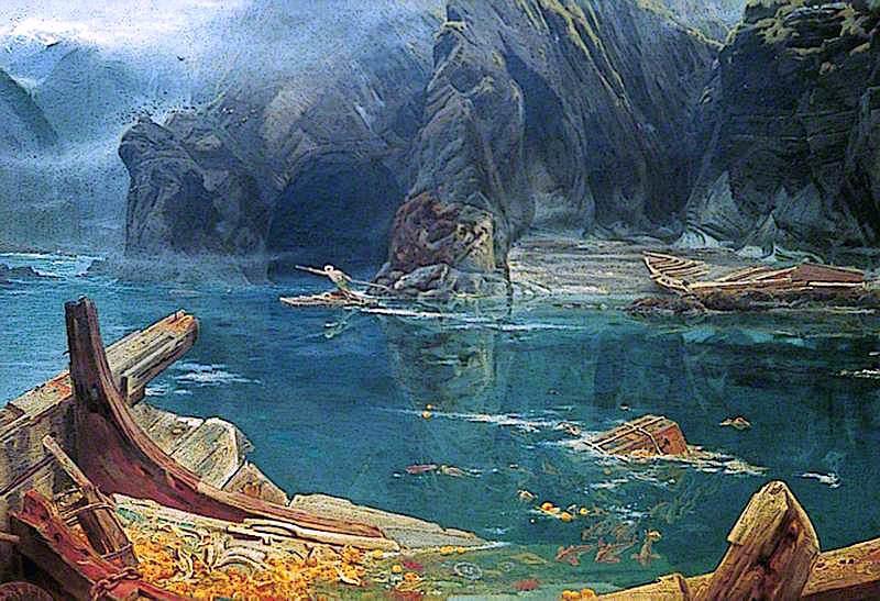 Sinbad Entering the Cavern | Albert Goodwin | oil painting