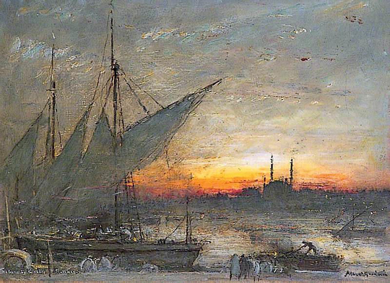 The Burning Ghats | Albert Goodwin | oil painting
