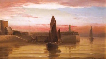 A Lugger Entering Peel Harbour | George Goodwin | oil painting