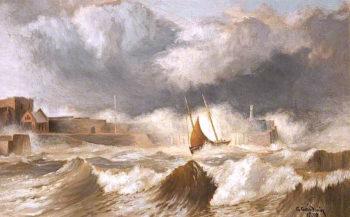 Peel Breakwater | George Goodwin | oil painting