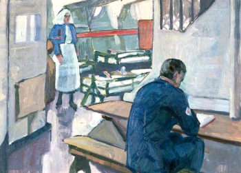First World War -  A Ward in a Hospital Ship | Jan (Godfrey Jervis Gordon | oil painting