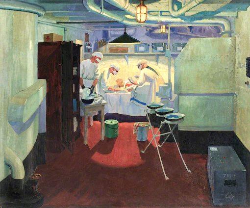 First World War -  Action Operating Theatre in a Battleship | Jan (Godfrey Jervis Gordon | oil painting