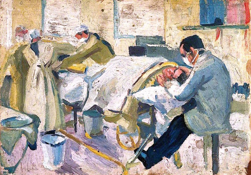 First World War -  An Operating Theatre in a Hospital Ship | Jan (Godfrey Jervis Gordon | oil painting