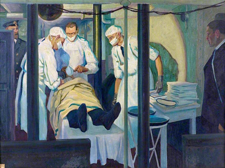 First World War -  An Operation in a Light Cruiser | Jan (Godfrey Jervis Gordon | oil painting